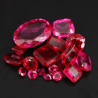 Loose Mixed Faceted Laboratory Grown Rubies
