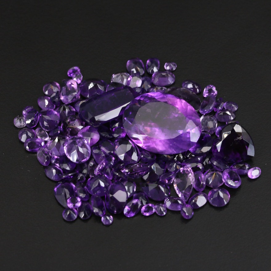 Loose 106.95 CTW Mixed Faceted Amethysts