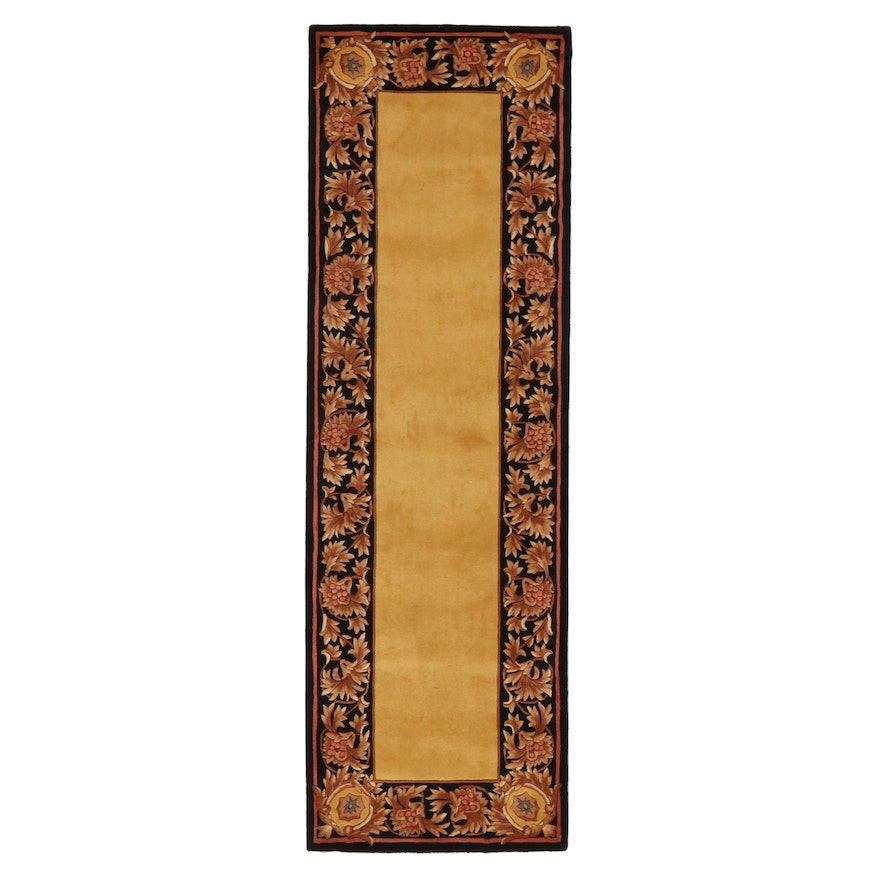 2'7 x 8' Hand-Tufted Sino-French Savonnerie Carved Pile Carpet Runner, 2010s