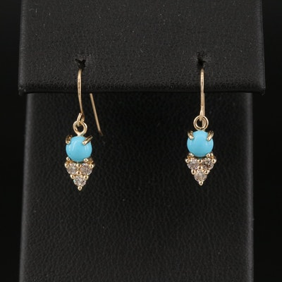 14K Turquoise and Diamond Drop Earrings
