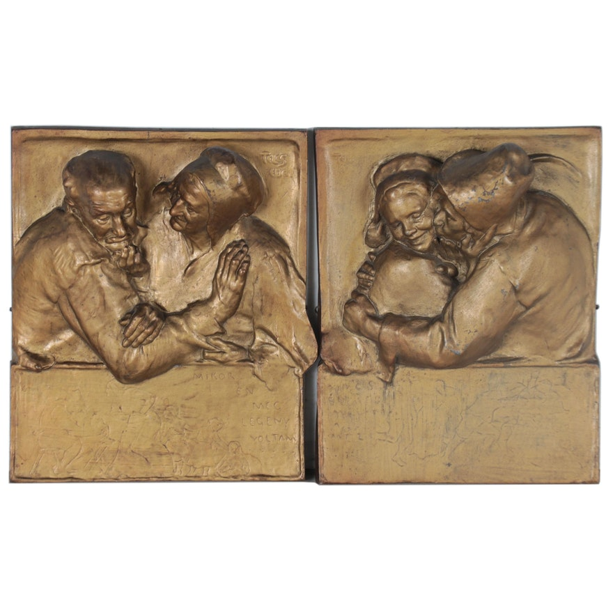 Figural Spelter Relief Plaques after Ede Telcs, Early to Mid-20th Century