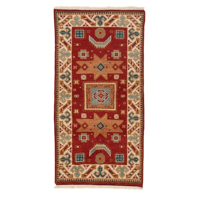 3' x 5'8 Hand-Knotted Indo-Caucasian Kazak Rug, 2000s