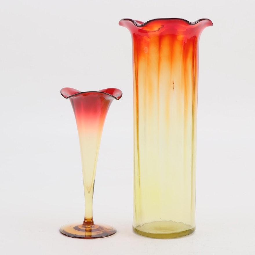 Amberina Glass Bud Vase and Tall Vase, 20th Century