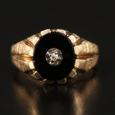 Vintage 10K Diamond and Black Onyx Ring