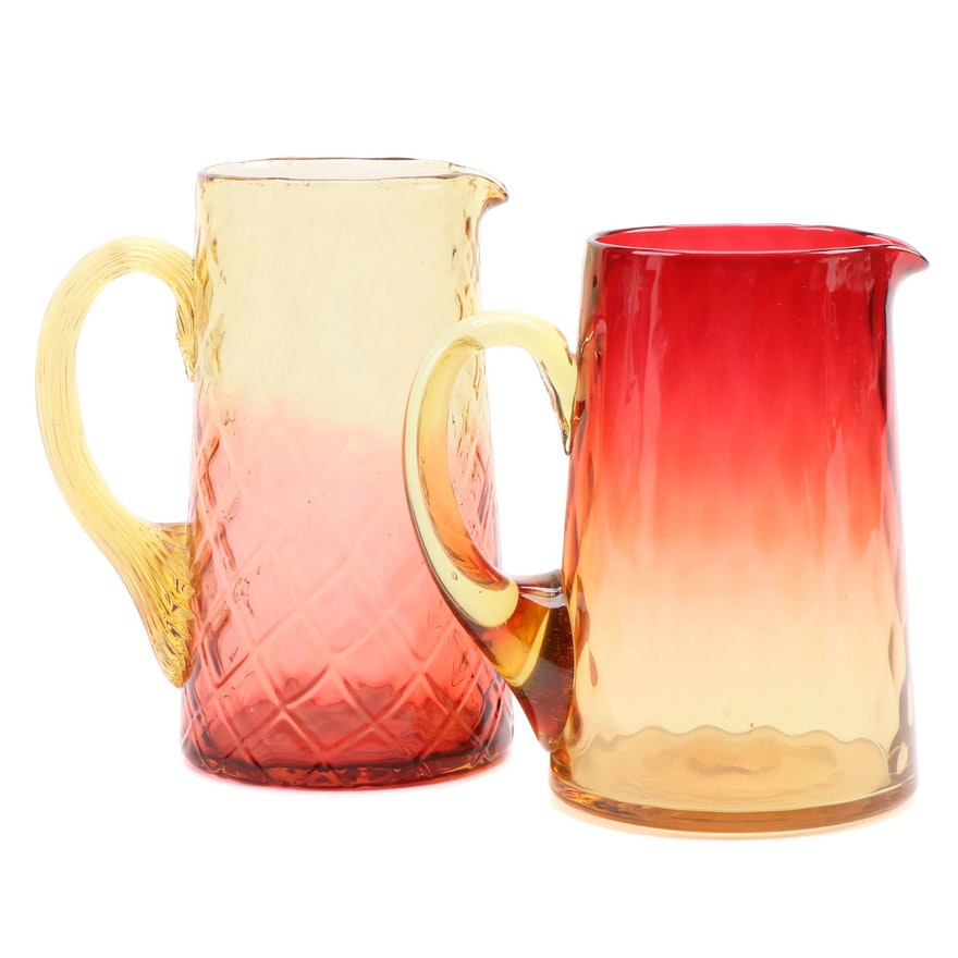 Quilted and Other Amberina Glass Water Pitchers, Mid-20th Century