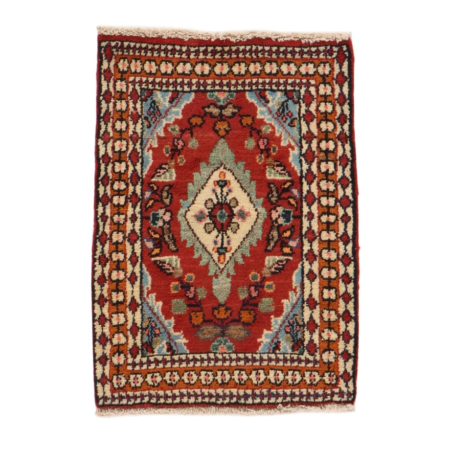 1'10 x 2'7 Hand-Knotted Persian Malayer Rug, 1970s