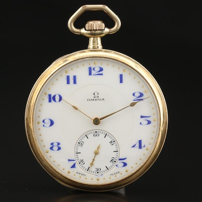 1915 Omega 14K Yellow Gold Open Face Pocket Watch