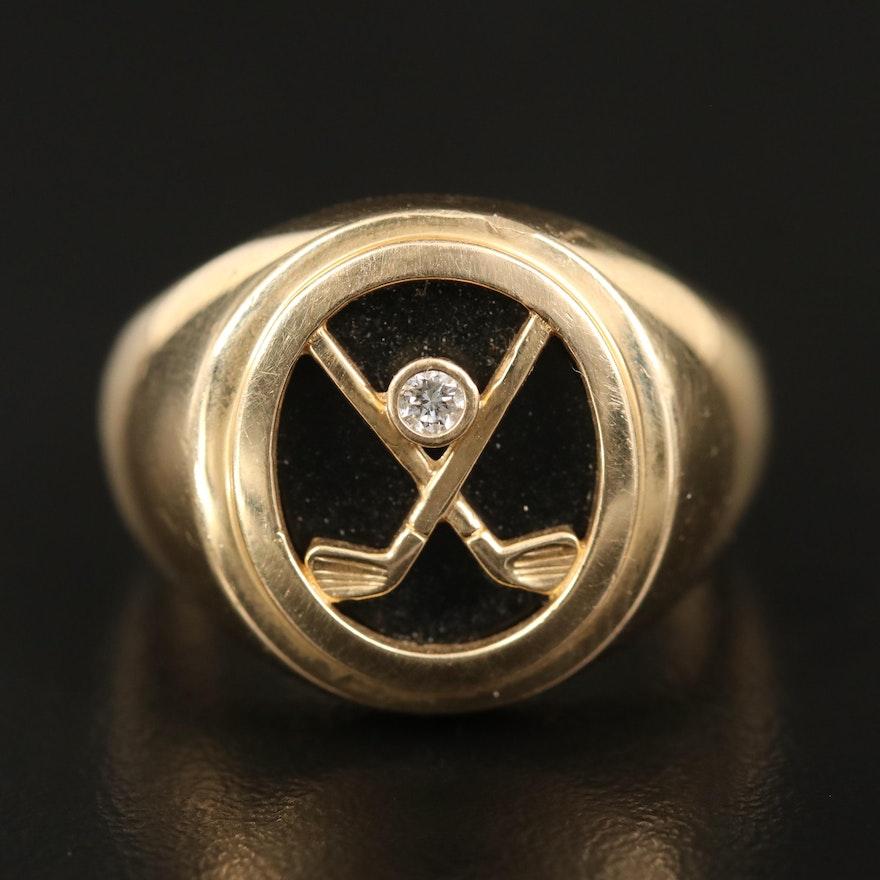 14K Diamond and Black Onyx Golf Ring
