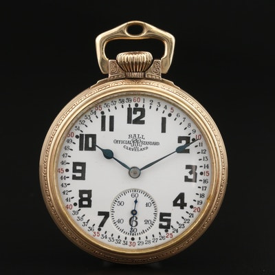 Vintage Ball Railroad Grade 10K Gold Filled Open Face Pocket Watch