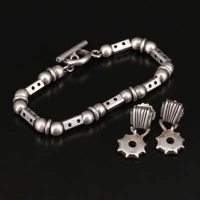 Sterling Gear Drop Earrings and Fancy Link Bracelet