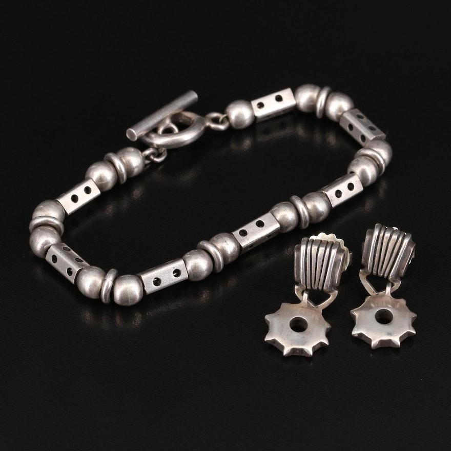 Sterling Gear Drop Earrings and Fancy Link Bracelet