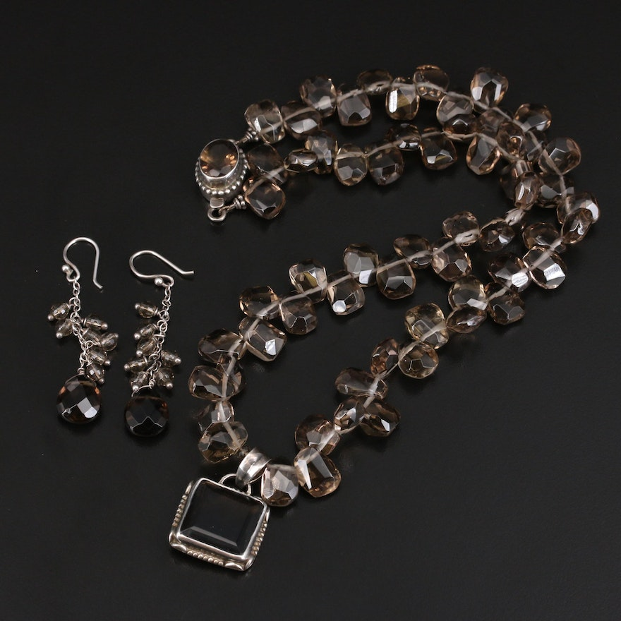 Sterling Smoky Quartz Necklace and Earrings