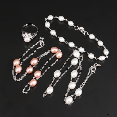 Sterling Silver Pearl and Topaz Jewelry Collection