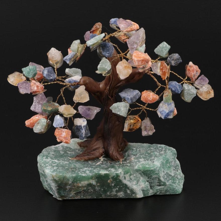 Brazilian Amethyst and Gemstone Ceramic Tree