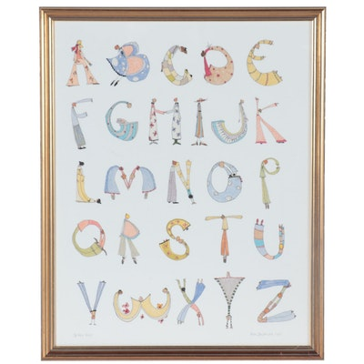 Ellen Skidmore Giclée Illustration of the Alphabet, 21st Century