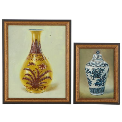 Still Life Oil Paintings of Vases, Late 20th Century