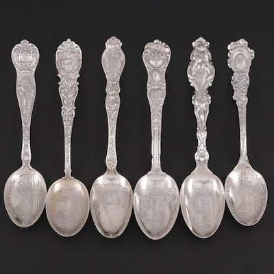 American Sterling Silver Souvenir Spoons with Silver Plate Niagra Falls Spoon