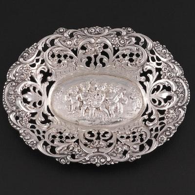 German Hanau .800 Silver Pierced Repoussé Trinket Dish, circa 1900
