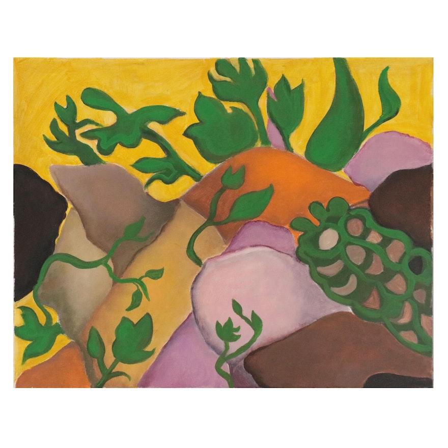Judith R. Robinson Folk Art Acrylic Painting of Plants Growing on Rocks