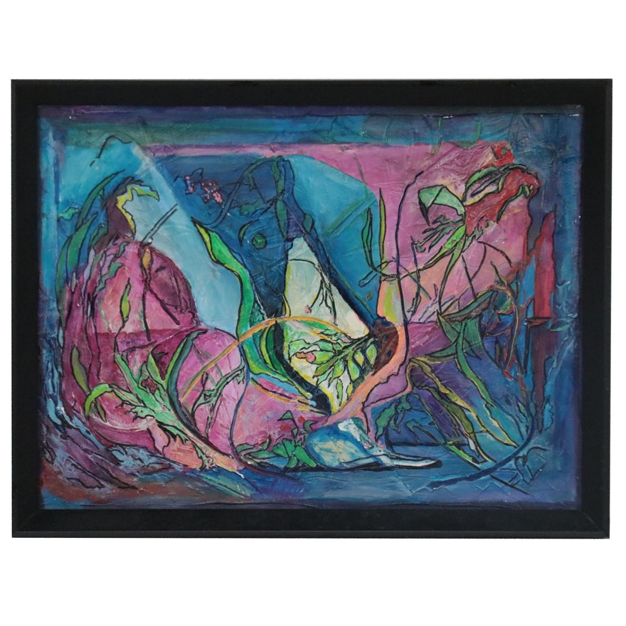 Mixed Media Painting of Modernist Aquatic Landscape, Late 20th-21st Century