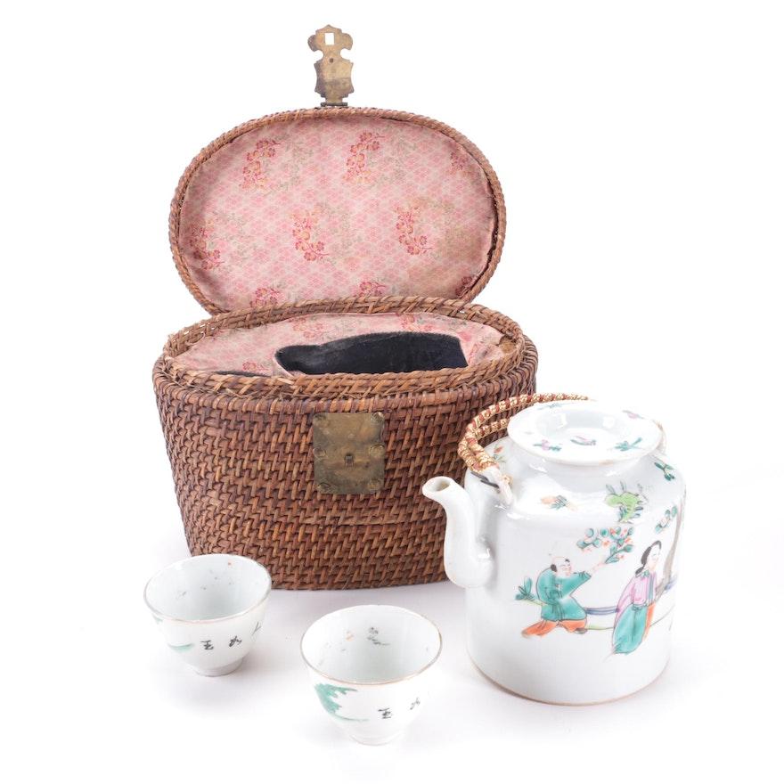 Chinese Famille Rose Porcelain Tea Set in Woven Basket