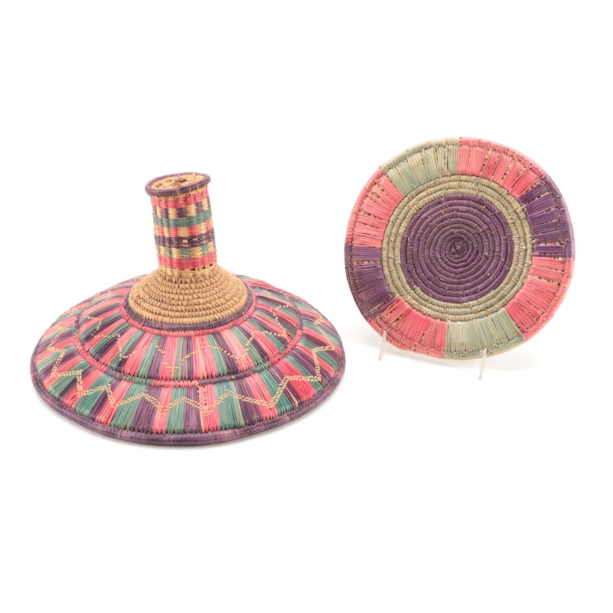 Ethiopian Handwoven Polychrome Basketry Lid and Flat Platter