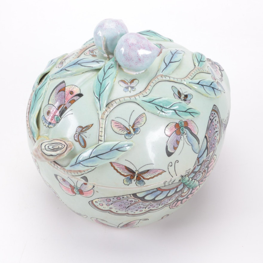 Chinese Celadon Glazed Peach Porcelain Covered Dish