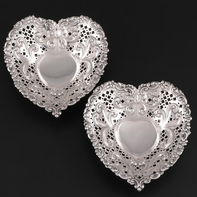 Gorham Pierced Sterling Silver Heart Shaped Nut Dishes