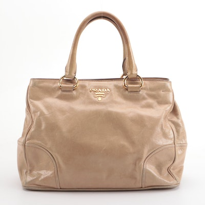 Prada Bauletto Two-Way Bag in Deserto Vitello Shine Leather