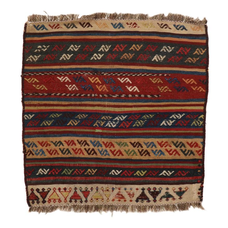 2'3 x 2'5 Handwoven Persian Kurdish Caucasian Kilim Rug, 1930s