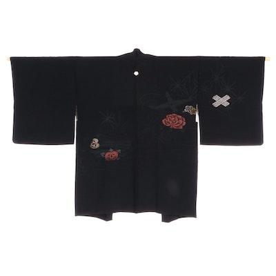 Black Floral Urushi Embroidered Crepe Haori with Himo, Shōwa Period
