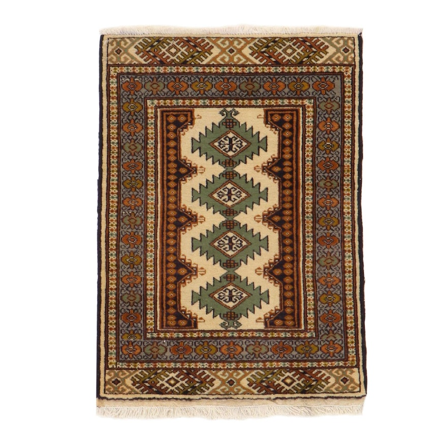 2'2 x 3'2 Hand-Knotted Persian Ardebil Rug, 1970s