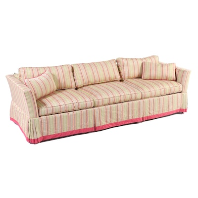 Square Arm Upholstered Skirted Sofa, Late 20th Century