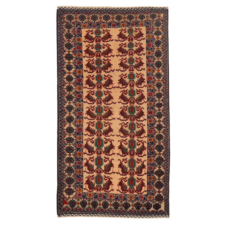 3'7 x 6'9 Hand-Knotted Persian Baluch Rug, 2000s