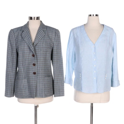 Linda Allard Ellen Tracy Wool Blazer with Jaeger for Saks Fifth Avenue Jacket