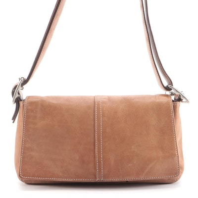 Coach Classic Demi Flab Baguette Bag in Tan Leather with Contrast Stitching