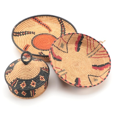 North African Woven Baskets and Lidded Basket Container