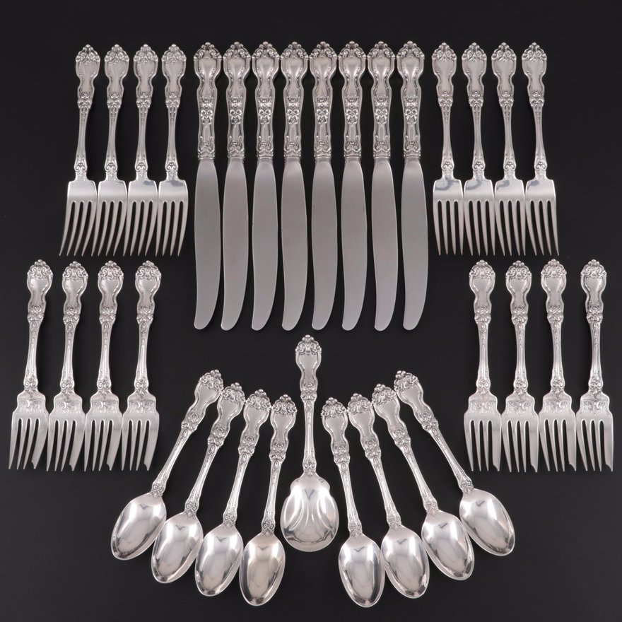 """Wallace """"La Reine"""" Sterling Silver Flatware, Early 20th Century"""