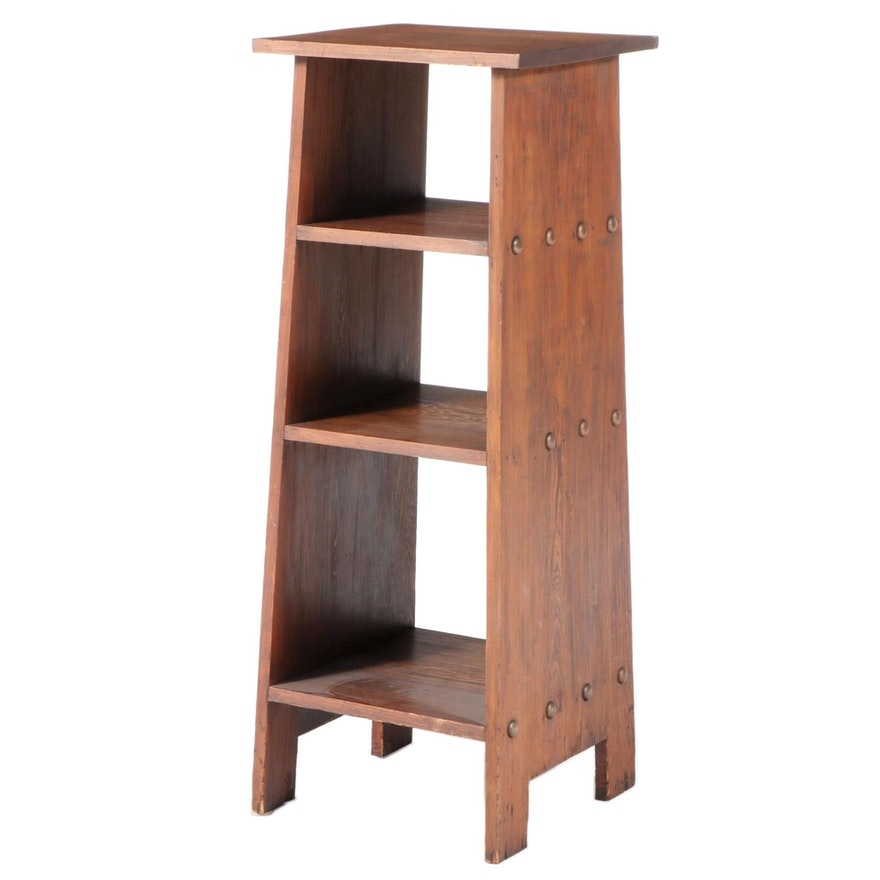 Arts and Crafts Pine Four-Tier Bookcase, 20th Century