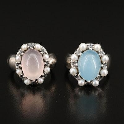 Ann King Sterling Rose Quartz, Pearl and Beryl Rings