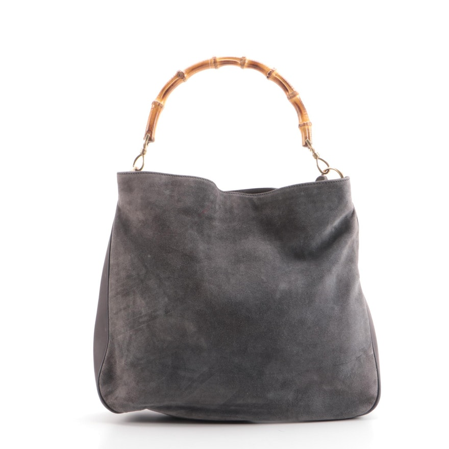 Gucci Bamboo Handle Two-Way Tote in Grey Suede and Leather
