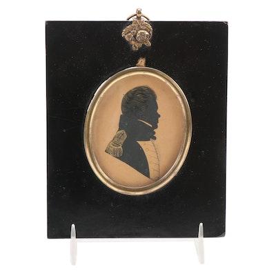 Gouache Painting of Gentlemen's Profile Silhouette, Mid-19th Century
