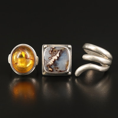 Sterling Rings Including Agate and Polish Copal Ring