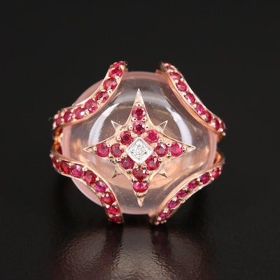 Sterling Rose Quartz, Ruby and Diamond Ring