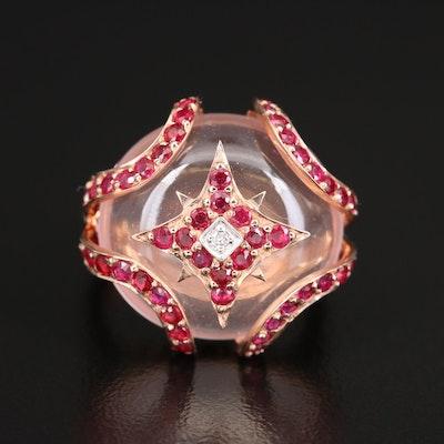 Sterling Rose Quartz, Ruby and Diamond Ring