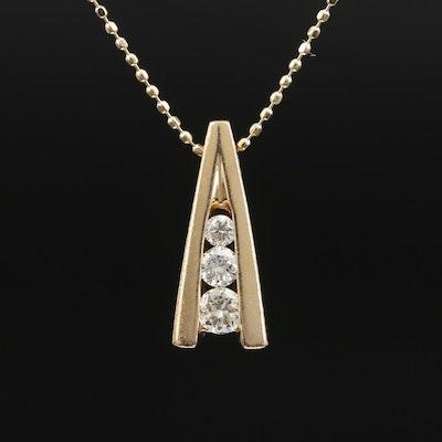 14K Graduating Diamond Necklace