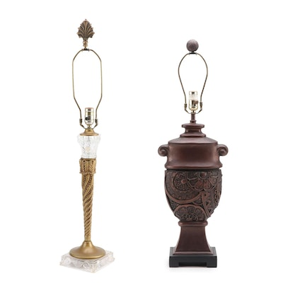 Neoclassical Style Crystal and Gilt Metal Table Lamp with Other Composite Lamp