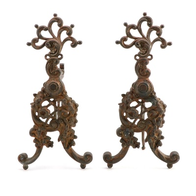 Victorian Rococo Style Open Scroll Fire Dogs, Late 19th to Early 20th Century