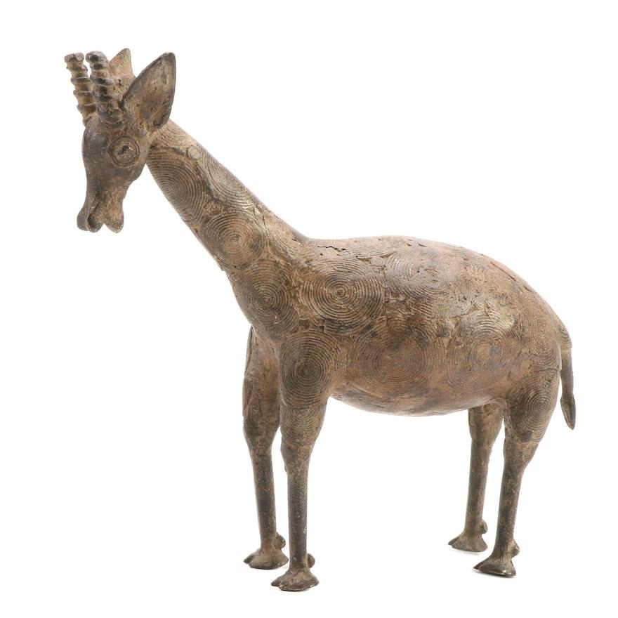 West African Brass Sculpture of Giraffe