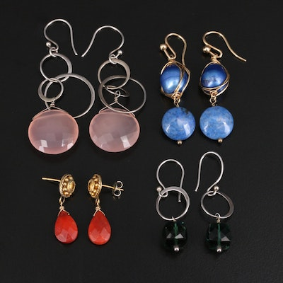 Earrings Including Sterling, Coral, Pearls and Chalcedony